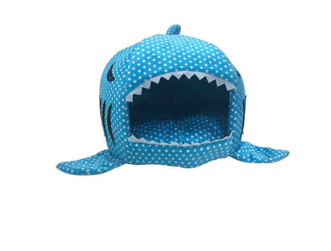 Blue Shark Pet Bed with White Polka Dots