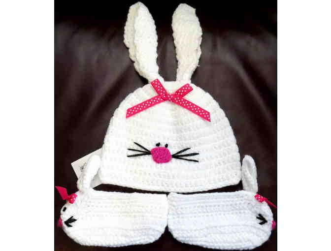 Baby Bunny Knit Hat and Bootie Set - Photo 1