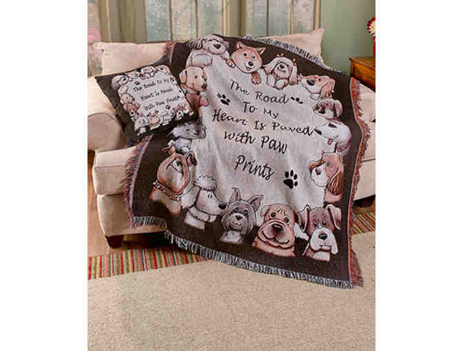 'The Road to My Heart is Paved with Pawprints' Throw