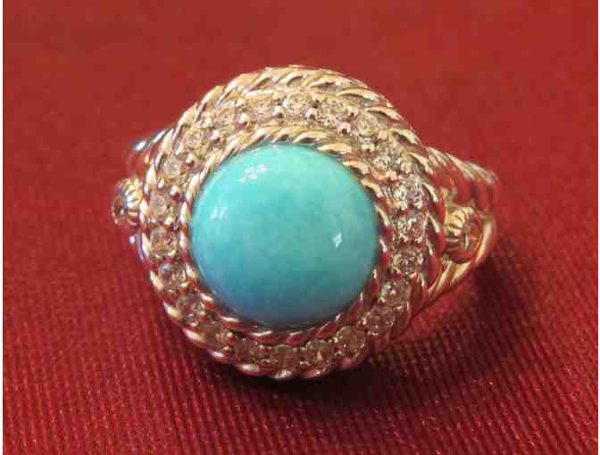 Judith Ripka Sterling Silver and Turquoise and Diamonique Jewelry Ensemble