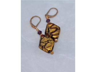14k gold foiled art glass earrings w/ Swarovski crystal