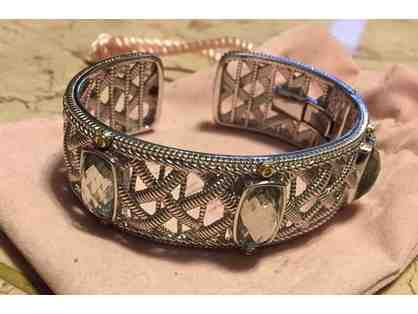 18K Sterling Silver and 18K Gold Diamond and Green Quartz Basket Weave Cuff