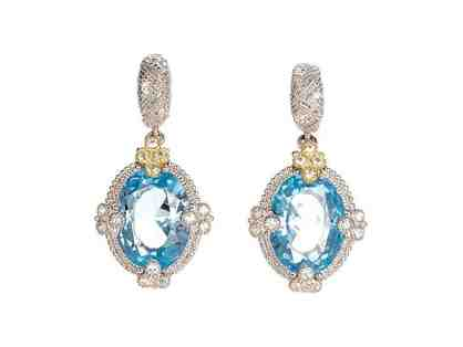 18K Gold and Sterling Silver Blue Topaz Drop Earrings, White Sapphires