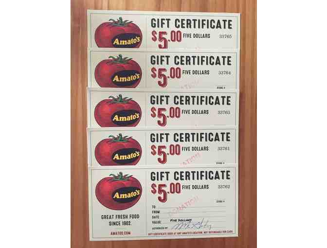$10 in Amato's Gift Certificates