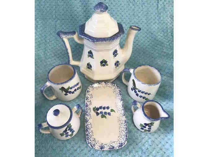 Antique hand-painted Maine blueberry pitcher and coffee set