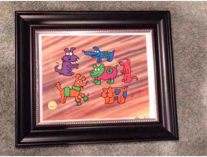 Keith Haring Original Sesame Street 'Number 6' Dogs Hand-Painted Animation Cel