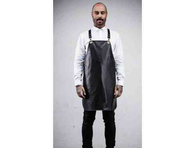 SEARCH & RESCUE DENIM: BARBER & STYLIST REVERSIBLE VINYL APRON - BLACK CANVAS