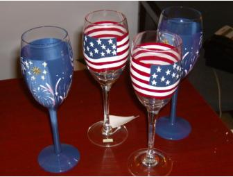 Patriotic Cotton Throw and 4 Painted Wine Glasses - Photo 1