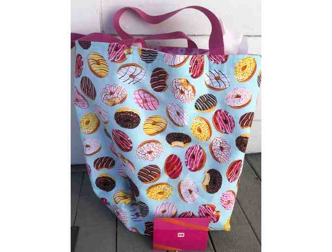 Handcrafted Donut Tote Bag With A $10 Dunkin Donut Gift Card Inside