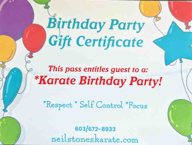 Birthday Party Gift Certificate To Neil Stone's Karate Academy