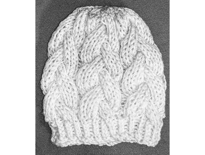 Light Grey And White Knit Hat