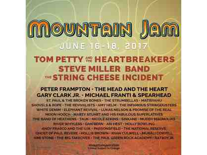 2017 MOUNTAIN JAM!!! Pair of 3 day General Admission Passes