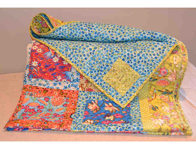 Hand-Pieced Colorful Quilt in Designer Fabrics