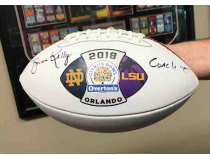 2018 Citrus Bowl Football Signed by Coach Brian Kelly of Notre Dame and Coach 'O' of LSU