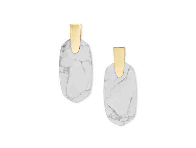 Aragon Gold Drop Earrings In White Howlite - Photo 1