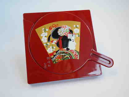 Beautiful Red Lacquer Hand MIrror Set