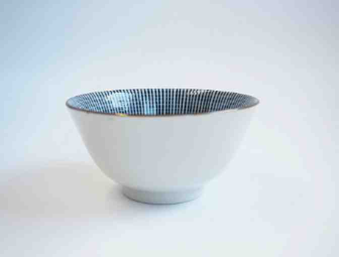 Kotobuki Blue and White Striped Flower Bowl