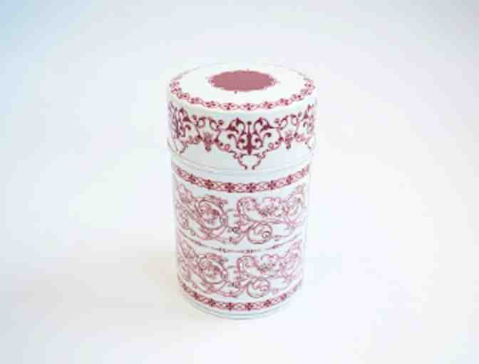 Kotobuki Maroon Patterned Tea Cannister