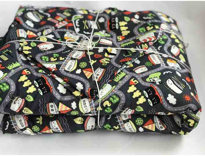 STAFF-CREATED: Black Printed Handmade Blanket to Go (Mini Futon)