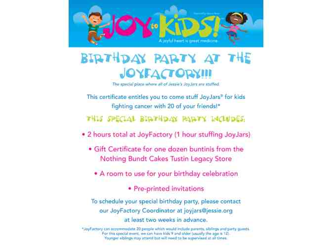 Birthday Party at the Joy Factory!