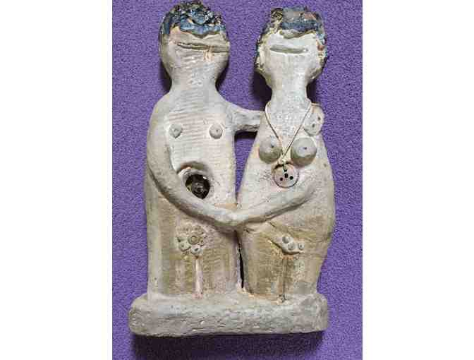 Adam and Eve Clay Sculpture - Original by Flo Laffal