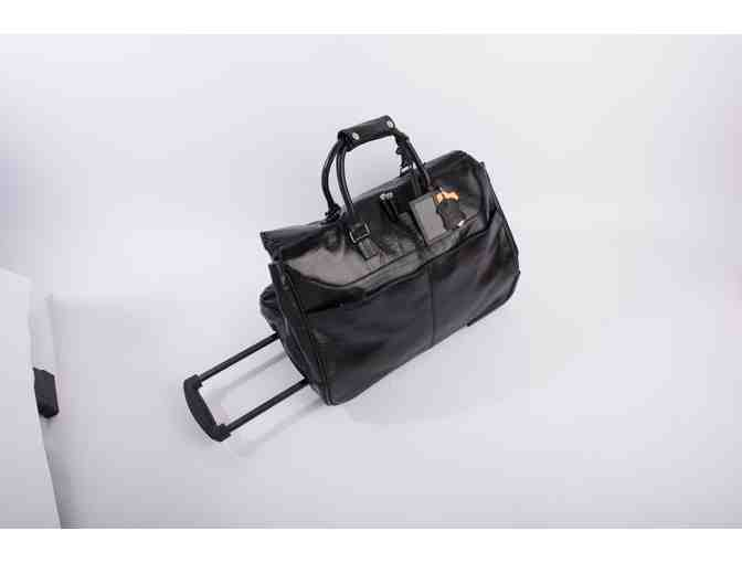 Genuine Black Leather Rolling Tote Bag - Photo 1