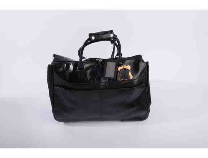 Genuine Black Leather Rolling Tote Bag - Photo 2
