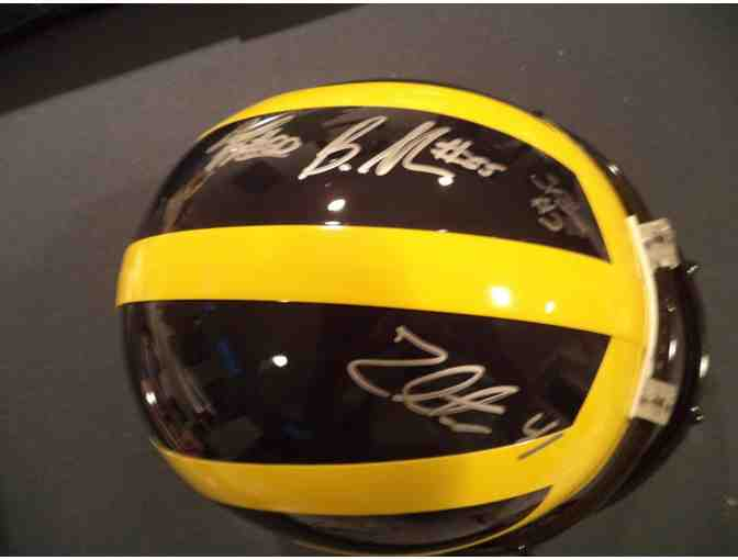 $1 MICHIGAN HELMET - Full Size helmet signed by Brandon Graham, Zoltan & Stevie Brown
