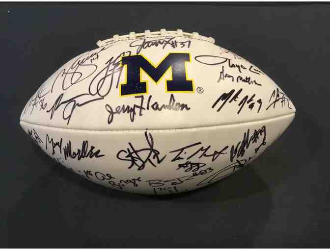 Brian Griese, Charles Woodson, Jake Long, Lloyd Carr. 23 Michigan greats signed M football