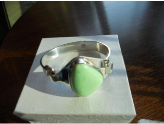 Hand Crafted, Sterling Silver Jadeite Bracelet - Photo 1