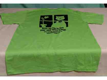 Adult Medium Kitty Cottage Crew Neck T-Shirt in Lime Green