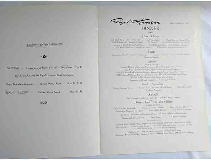 ORIGINAL Royal Hawaiian Hotel Menu