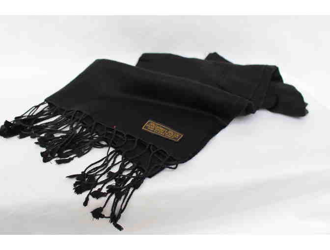 Black Cashmere and Silk Nepalese Pashmina Scarf Wrap