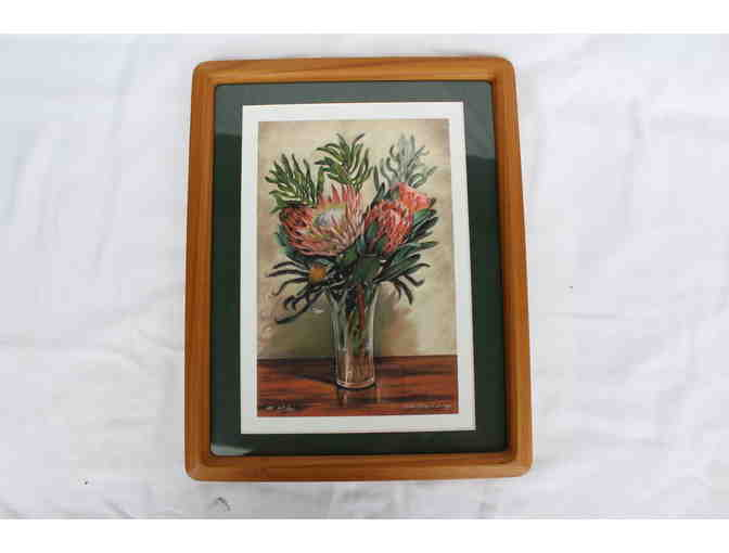 Protea Print by Kathy Long in Koa Frame