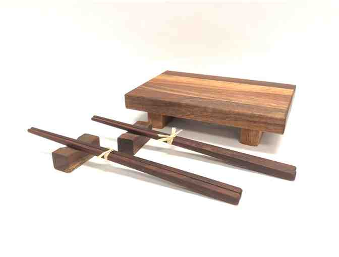 Koa Sushi Set, including Chopsticks, Chopstick Rests & Board