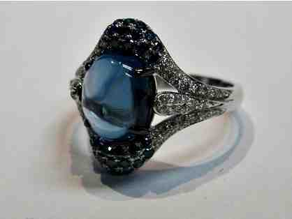 Oval Blue Topaz Ring, 4.18cts with RBC Diamonds set in 14K White Gold