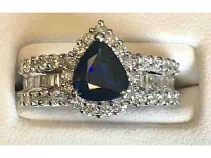 Diamond & Sapphire Ring, Set in 18K White Gold