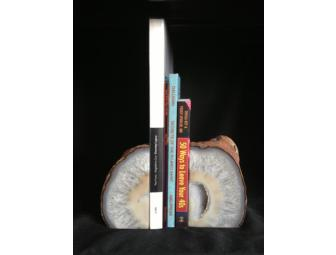 Brazilian Agate Geode Bookends with Druzy Center from Taos Gem and Minerals