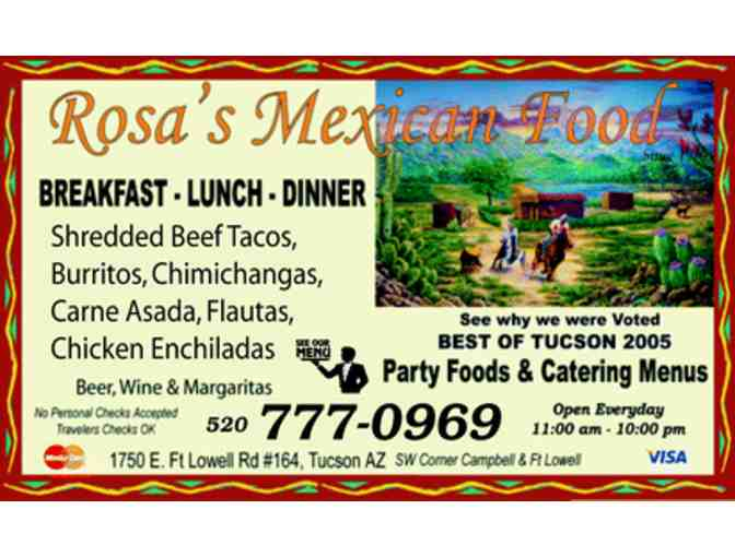 Rosa's Mexican Food $10 Gift Certificate