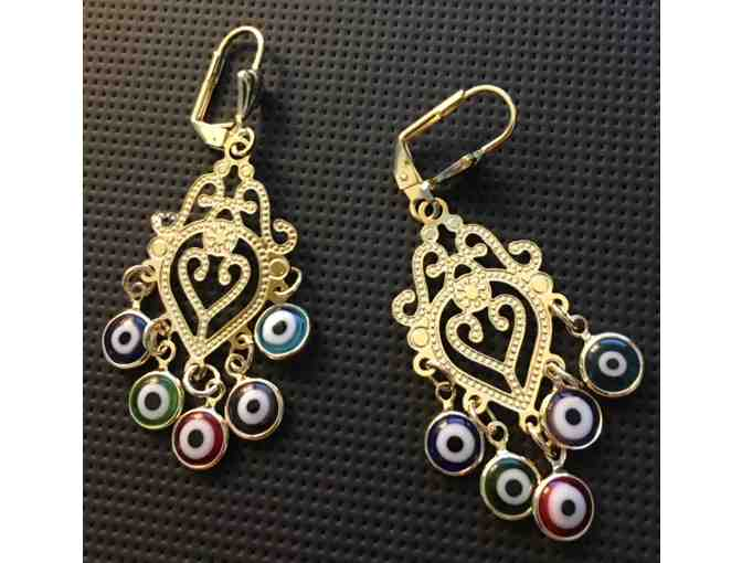 Filigree 14K Yellow Gold Plated Evil Eye Drop Earrings (P)