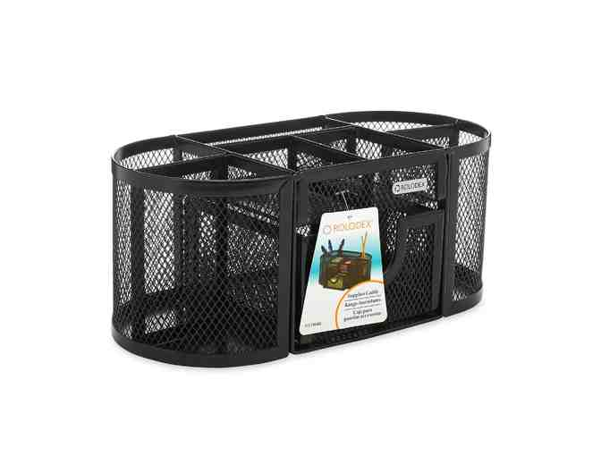 Rolodex Oval Supply Caddy, Metal Mesh, Black - Photo 1
