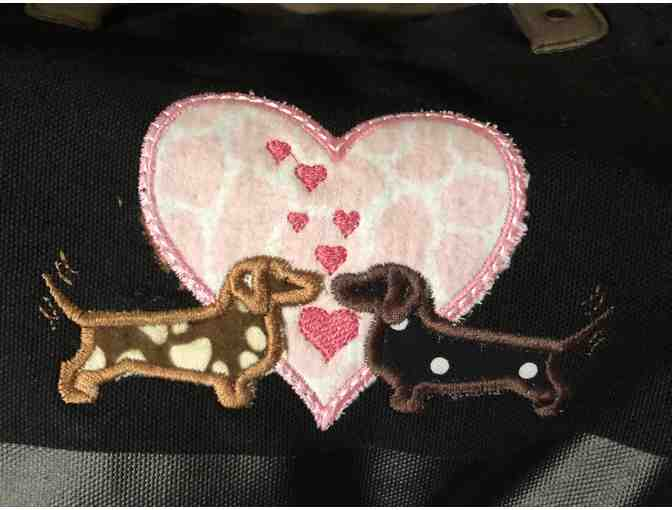 Canvas Tote Bag with Dachshunds and Hearts