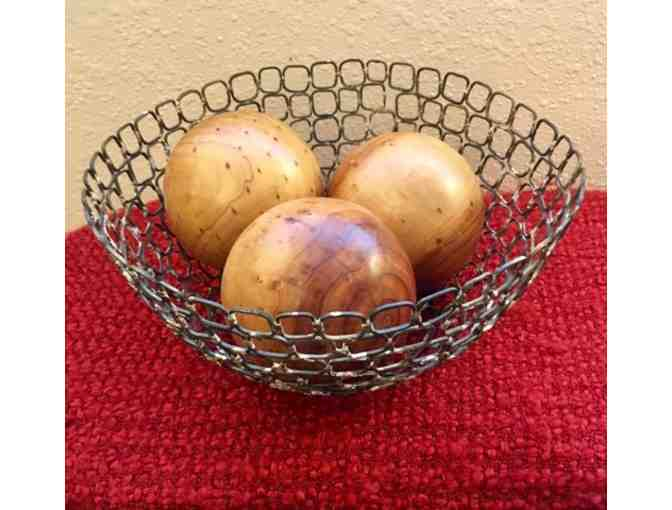 Metal Bowl with Decoratvie Wooden Balls