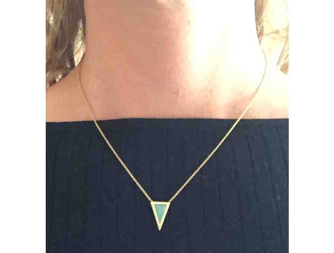 Light Green Glass Triangle Necklace