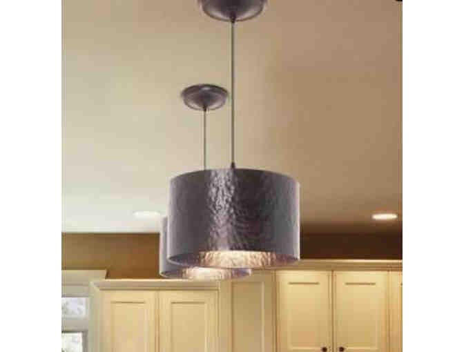 A Pair of Brushed Bronze Pendant Light Fixtures