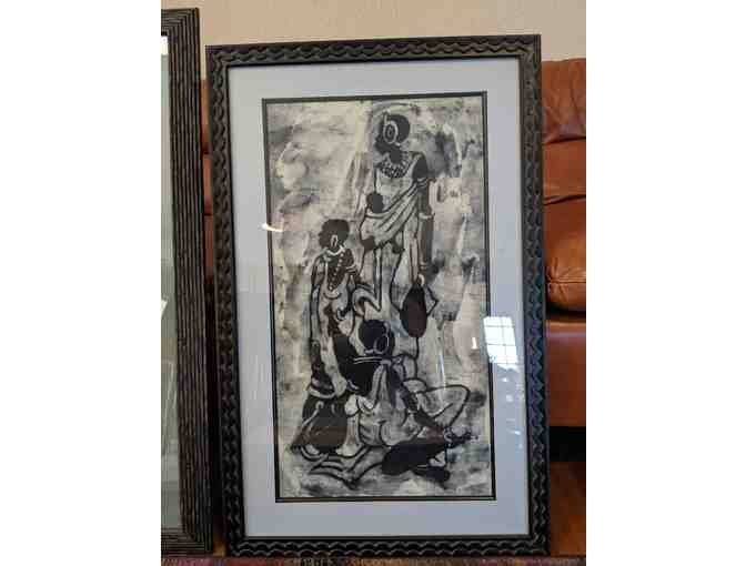 African Batik Art, Framed - Photo 1