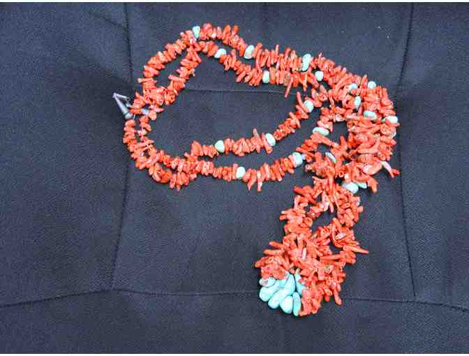 Native American Turquoise and Red Coral Necklace. 13.5'