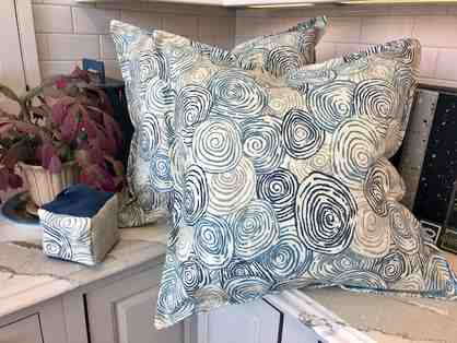 Two Custom Designer 22 inch square down filled pillows and coordinating door stop