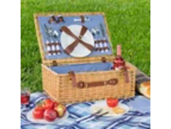 WICKER PICNIC BASKET WITH WINE GLASSES, PLATES, AND UTENSILS