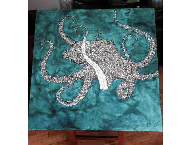 Octopus on Teal Painting